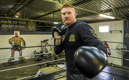 "Heavyweight boxer Ruann ""Giant King"" Visser prepares for his non-title fight against Luke Sutherland on October 21 at Time Square in Menlyn, Pretoria. / Deon Raath/ Gallo Images"
