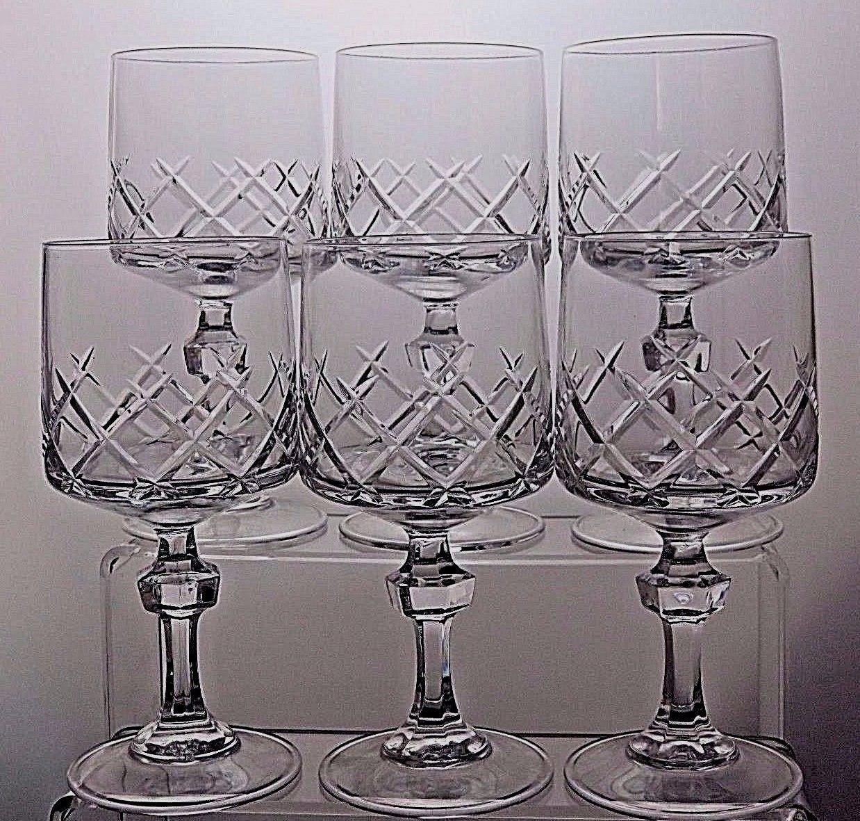 Bohemia Bohemian Crystal Large Cut Wine Gles Set Of 6 1 3 Tall