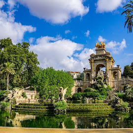Cuitadella Park Statues by Justin Hyder - Buildings & Architecture Other Exteriors ( spain, fountain, beauty, city, gardening, tourism, holiday, building, cuitadella, tourist, barselona, palm tree, view, barcelona, golden, national, landmark, espanya, europe, park, architecture, palace, spanish, art, famous, european, night, statue, people, water, mediterranean, water reflection, square, performance, urban, light, silhouette, travel, catalonia, horses )