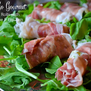 Prosciutto Rolls with Goat Cheese, Arugula & Fig Preserves.