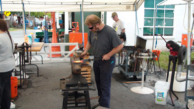 Photo: Blacksmith forging a roughing gouge for the Spring Pole Lathe