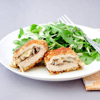 Breaded Pork Cutlets Stuffed With Mushrooms And Parmesan.