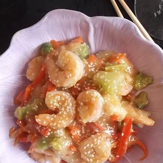 Sesame Shrimp and Vegetable Stir Fry.