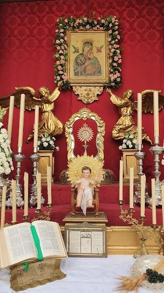 Detalle del altar efímero instalado por la Hermandad de la Soledad.