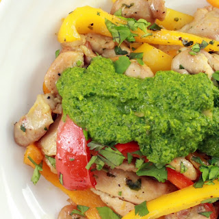Skillet Chicken with Peppers and Fresh Chimichurri Sauce