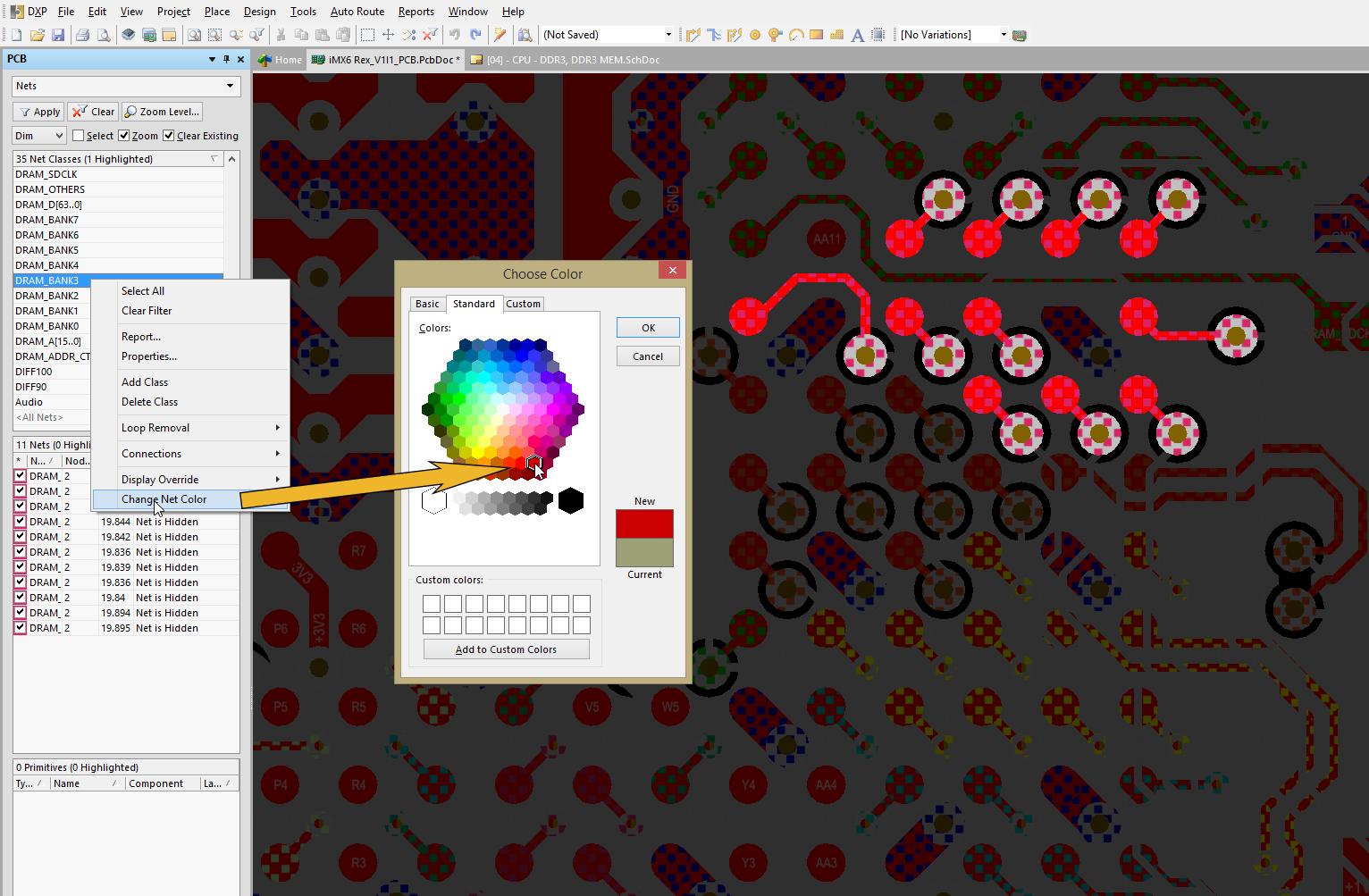 Asignar diferentes colores a cada grupo puede hacer el enrutado de memoria DDR3 más sencillo de organizar