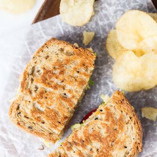 Brussels Sprout & Hummus Grilled Cheese Sandwich.