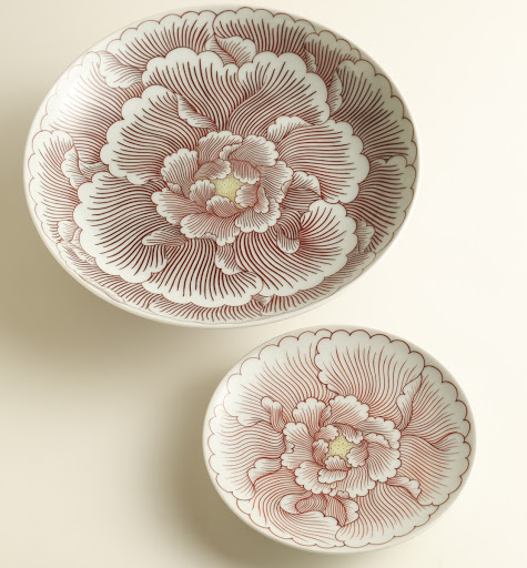 "Arita Ware ""Colored Nabeshima Plate with Pedestal, Peony Pattern"" and ""Colored Nabeshima Bowl with Pedestal, Peony Pattern"""
