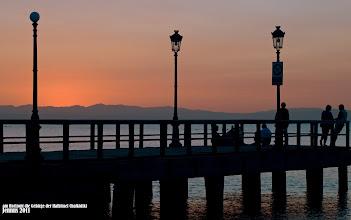Photo: kurz vor dem Sonnenaufgang über der blauen Ägäis (am Horizont die Gebirge der Halbinsel Chalkidiki)