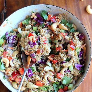 Crunchy Cashew Thai Quinoa Salad with Ginger Peanut Dressing.