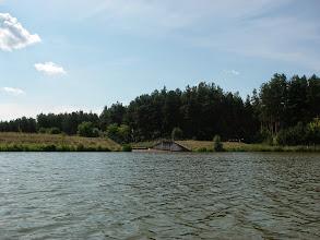 Photo: grobla dzieląca zalew na pół