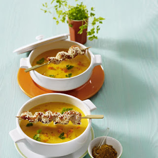 Carrot-Ginger Soup with Sesame Chicken Skewers