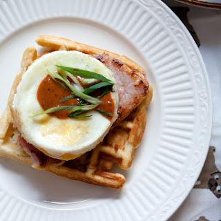 Peameal Bacon and Egg Waffle Sandwich.