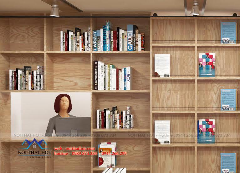 Giá trưng bày tạo điểm nhấn trong thiết kế nhà sách