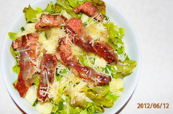 Here is another steak salad with the celery seed dressing. Yumm