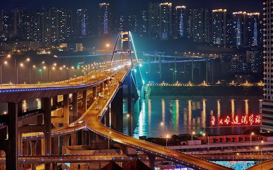 Chongqing Bridge by Alexander Shafir - City,  Street & Park  Skylines ( skyscrapper, night, bridge, china, river, lights )
