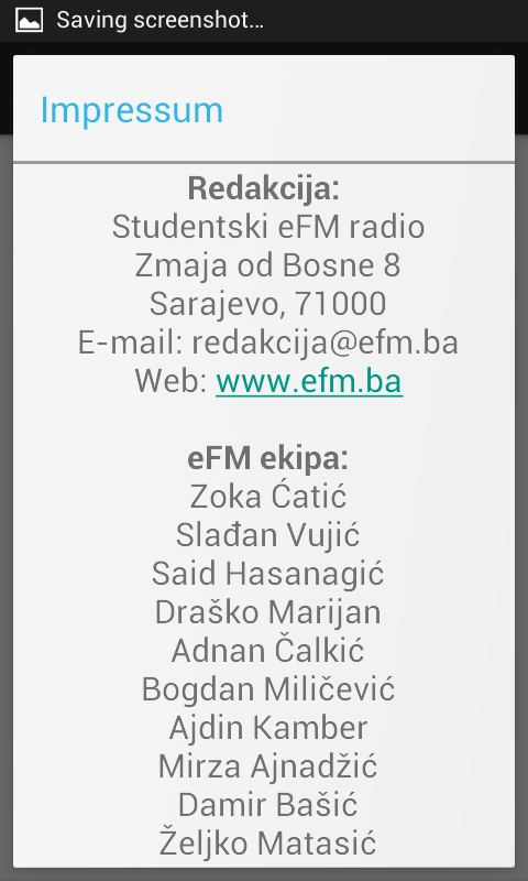 Studentski eFM radio- screenshot