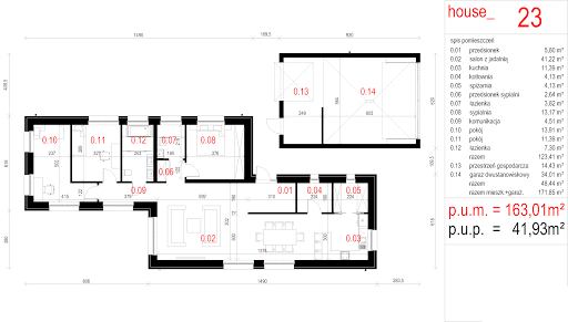 House 23 - Rzut parteru - alternatywna aranżacja pokoi dziecięcych