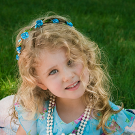 Summer portrait by Judy Deaver - Babies & Children Child Portraits ( flowers, blue, pearls, portrait, summer )