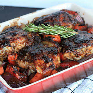 Mustard Balsamic Baked Chicken with Roasted Vegetables.