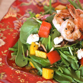 Spinach Mango Salad with Prawns