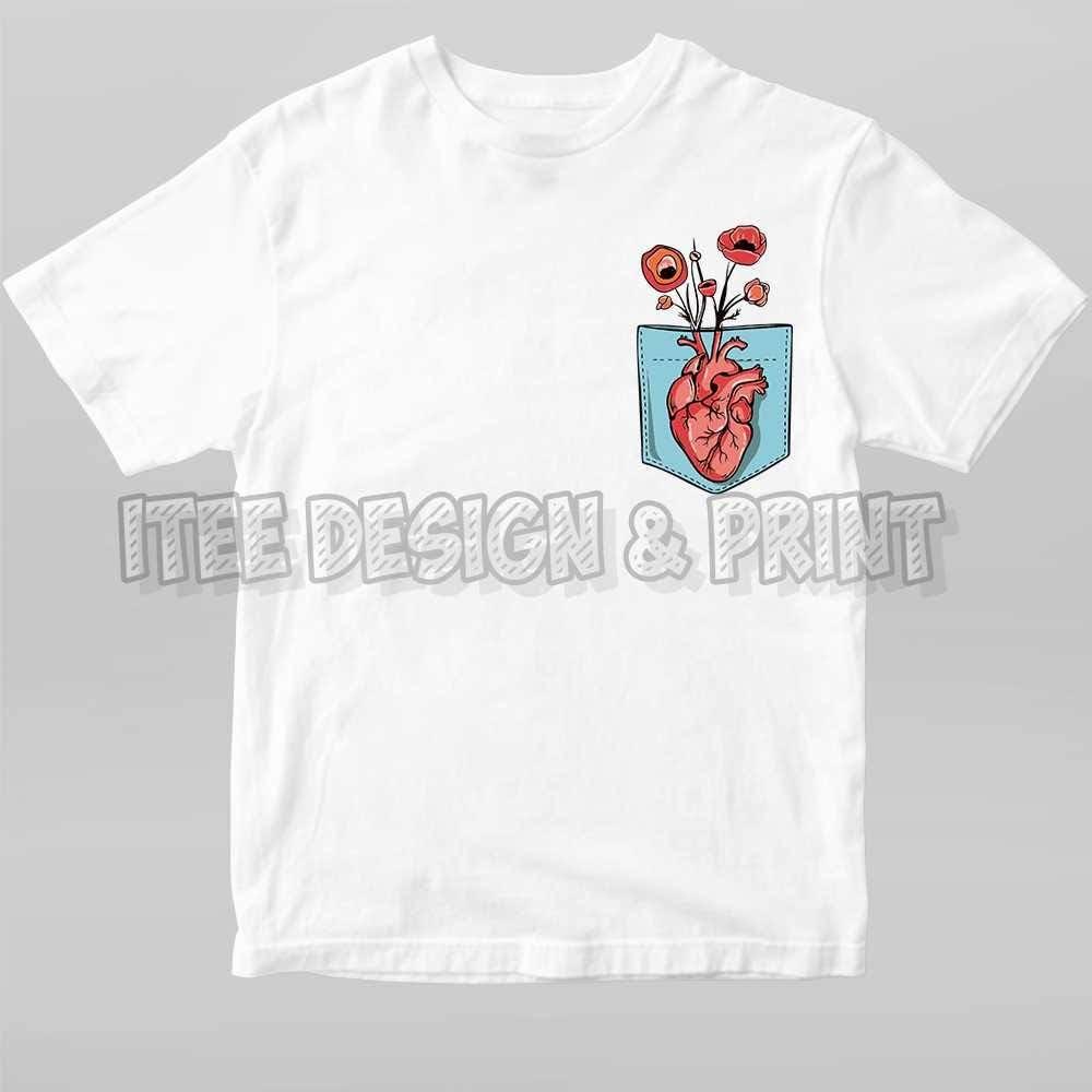 Heart Growing Flowers in Pocket shirt