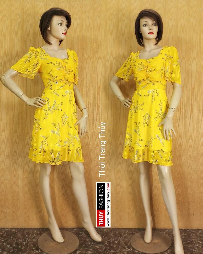 Váy xòe tay loe xếp nhún màu vàng V679 thời trang thủy sai gòn