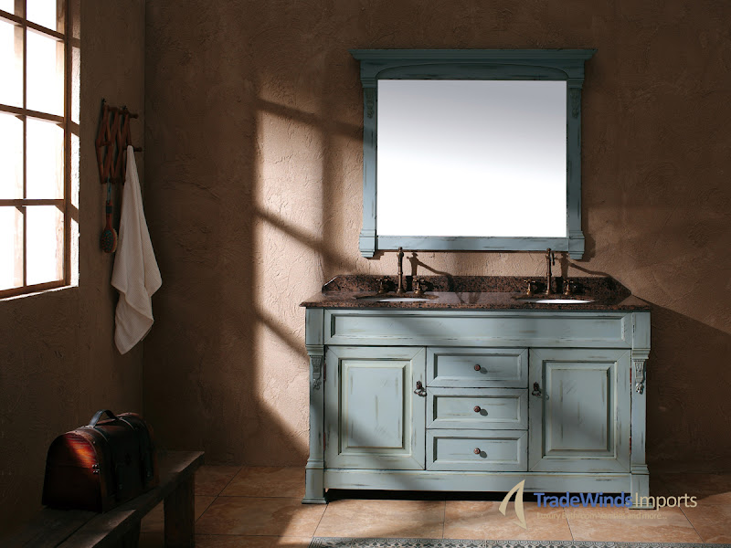 Photo: Rustic charm for your home! This playful vanity is perfect for a guest bathroom with antique sensibilities. Check it out here: http://bit.ly/1bX2VyD