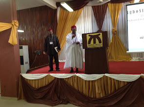 Photo: Rep of Obi of Onisha, Prof (Chief) Ngozi Okafor,  makes a brief remark during Conf opening ceremony