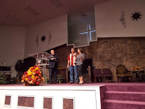Photo: In Porter, TX, at Triumph Christian Center. Depicted: Pastor Phil Meadows, Robert & Susan Totman.