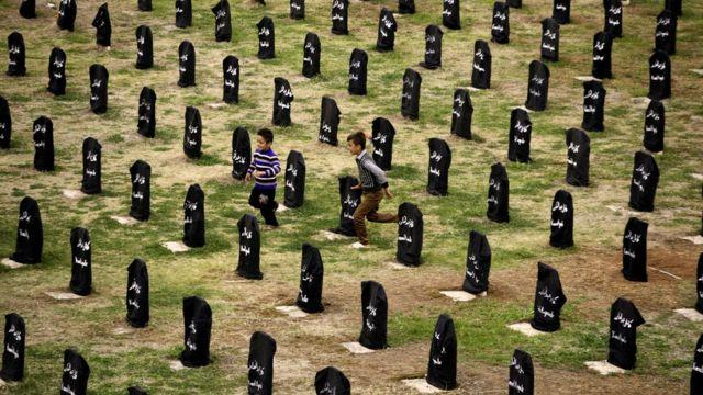 One of the cemeteries of the city, where the unidentified bodies of the 5,000 victims of the chemical attack of Halabja are buried