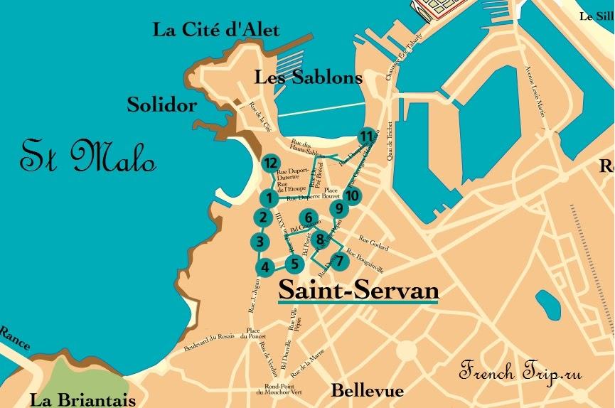 Карта маршрута по кварталу Сен-Серван в Сен-Мало