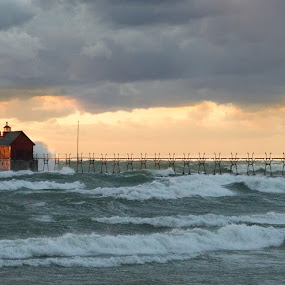 November Wind #2 by Nathaniel Beighley - Landscapes Sunsets & Sunrises ( clouds, wind, michigan, lake michigan, sunset, nikkor, nikon d600, pier, d600, beach, nikon )
