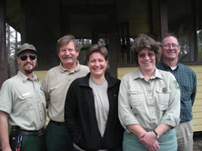 Photo: National Forest's Florida Heritage Staff (2010 - four of them are FSU Anthropology alumni - Lydick (left),  (Dr. Ray Willis - not an FSU alumni) - Dr. Andrea Repp (FSU Anthropology MA, and PH.D Interdisciplinary Program) , Kimbrough (MA FSU Anthropology) and WIlliam Stanton (FSU Anthropology MA).  Representing the Apalachicola, Osceola, and Ocala National Forests.  United States Forest Service.