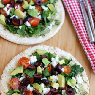 Open Faced Mediterranean Pita Sandwich