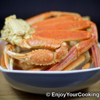 Boiled Snow Crab Legs with Old Bay Seasoning.