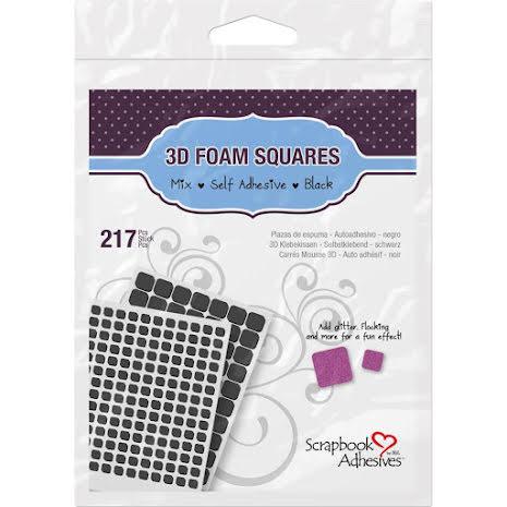 Scrapbook Adhesives 3L 3D Self-Adhesive Foam Squares 217/Pkg - Black Mixed
