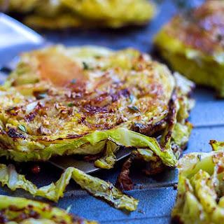 Balsamic, Honey Roasted Cabbage Steaks.
