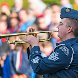 The Last Post by Garry Dosa - People Street & Candids ( remembrance day, instrument, uniforms, beret, people, celebration, music, blue, outdoors, cadet, bugle, ceremony, playing, solemn )