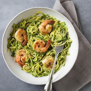 Zucchini Noodles with Avocado Pesto & Shrimp.