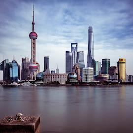 Shanghai by Renke Bargmann - City,  Street & Park  Skylines ( clouds, huangpu, bund, pearltower, shanghai bund )
