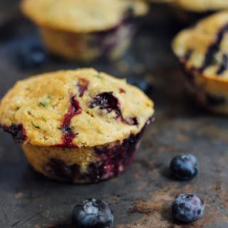Healthy Blueberry Zucchini Cornbread Muffins.