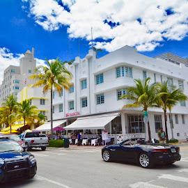 Miami Beach by Victoria Eversole - City,  Street & Park  Street Scenes ( urban landscapes, colors, miami beach street scene )