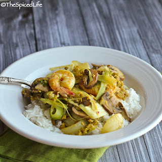 Shrimp And Mushroom Curry Stir Fry with Shredded Celery.