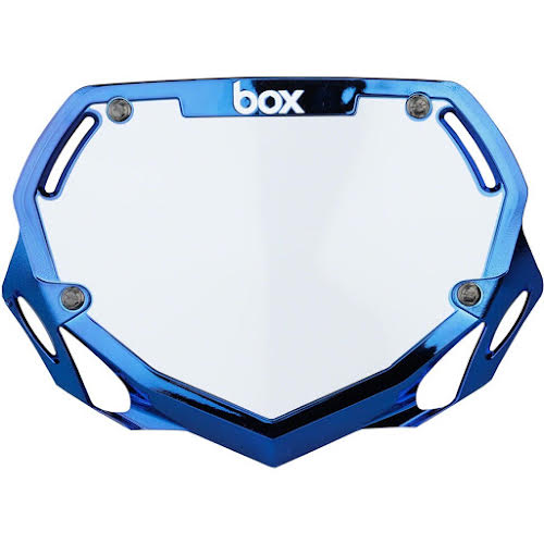 BOX Two Number Plate Small Blue Chrome