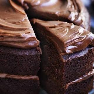 Chocolate-date Layer Cake With Peanut Butter Chocolate Ganache.