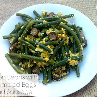 Green Beans with Scrambled Eggs and Sausages Recipe