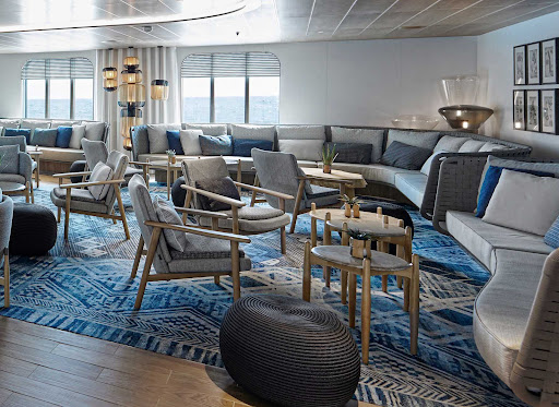 The main lounge on the Ponant boutique ship Le Laperouse.