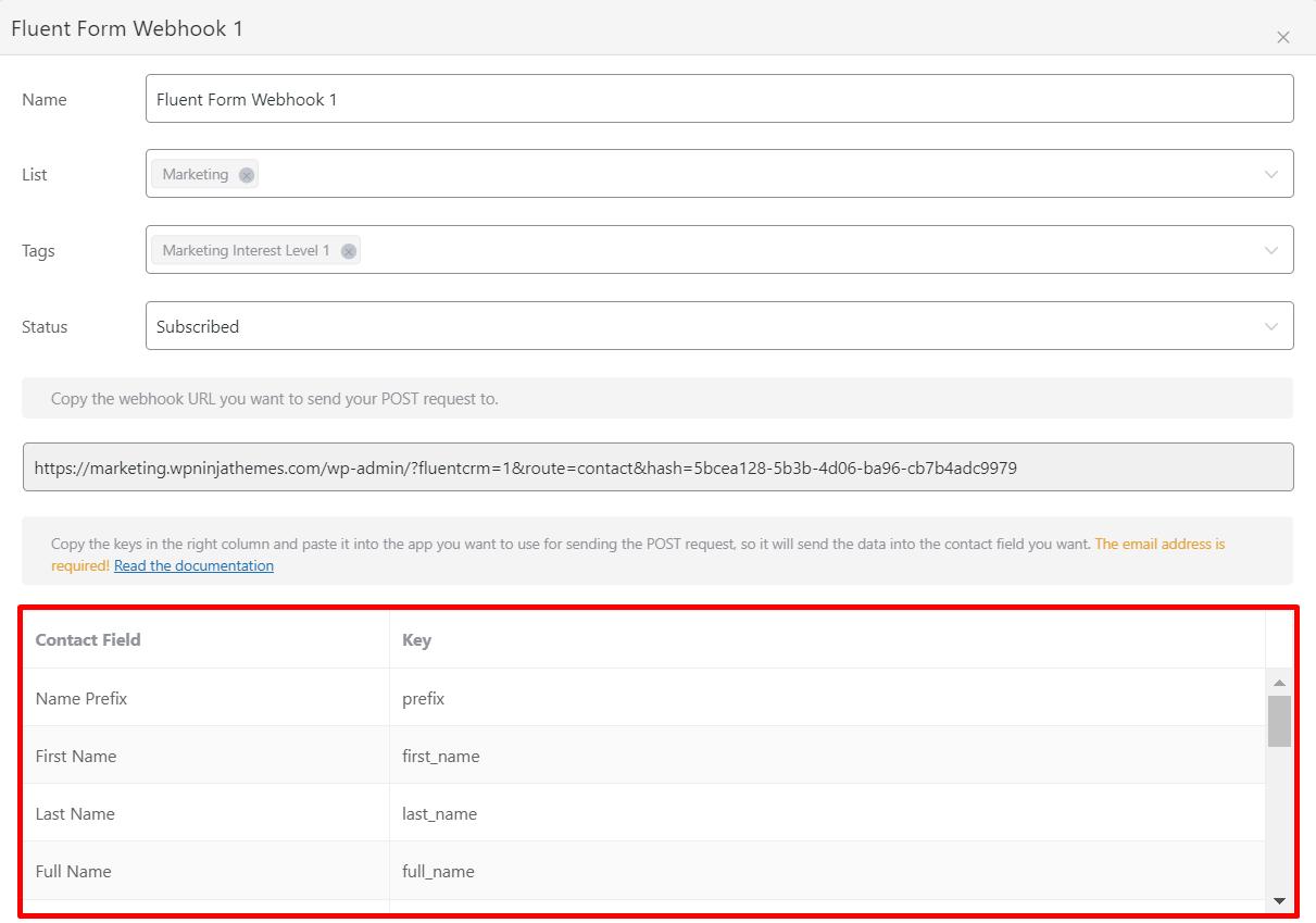 fluentcrm webhook fields mapping