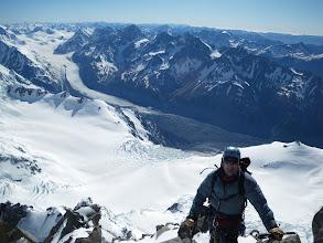 Photo: Bill above the Grand Plateau and the Tasman Glacier.